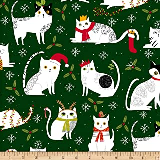 Ink & Arrow Meowy Christmas Christmas Cats Forest Fabric by the Yard