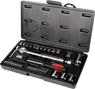 GETUHAND 42 Piece 1/4 and 3/8 Drive Metric Socket Wrench Set, spark plug socket, Ratchet Handle, Extension Bars, Torx, Philips Bits, Bit Adapter, and Carrying Case