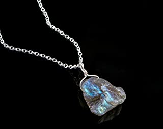 evaluesell Natural Raw Labradorite Gemstone Handmade Necklace Dainty Pendant Jewelry 925 Sterling Silver Chain 18