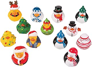 Fun Express Vinyl Christmas Rubber Duckies | 1-Pack | Great for Christmas Party and Holiday Celebrations Decoration
