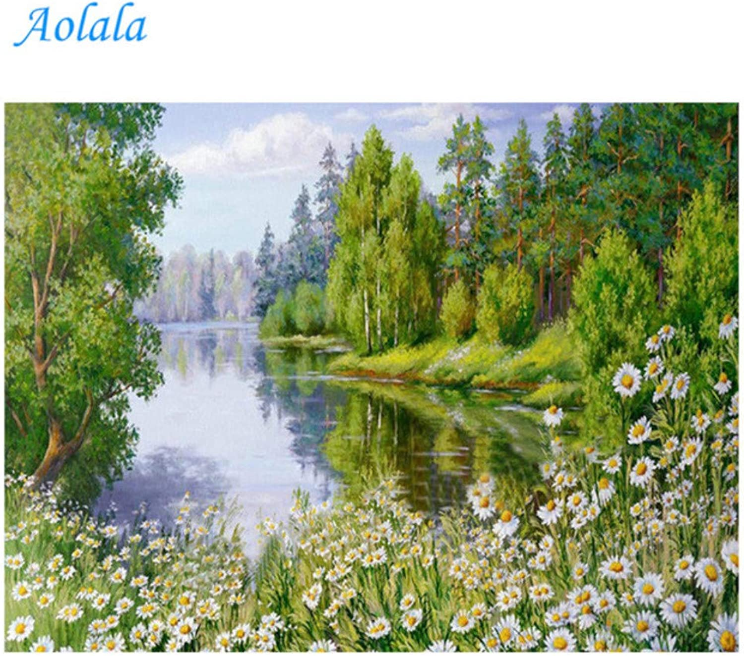 DIY Diamond Embroidery Flowers 5D Nature Scenery Picture Full Square Rhinestones Needlework Hobby Home Decoration,50x70cm