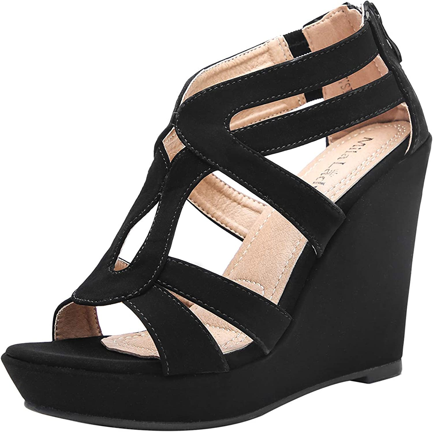 Max 56% OFF Ashley A A-LISA40 Zippered Strappy Heel Wedges Platform Open Toe Sale Special Price
