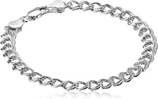 Plated Sterling Silver Double-Link Chain Bracelet