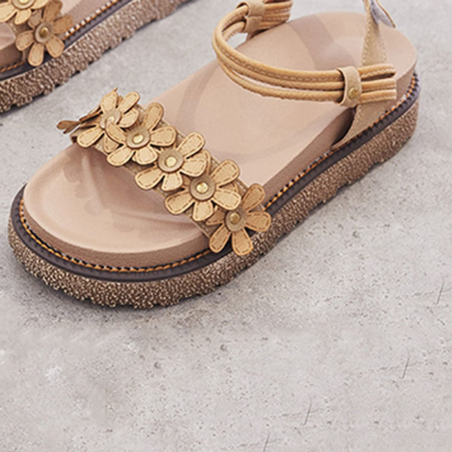 LIUXUEPING Muffin Thick-Soled Roman Female Sandals Summer New Korean Version of The Wild Students Flat Retro shoes (color   Brown, Size   40)