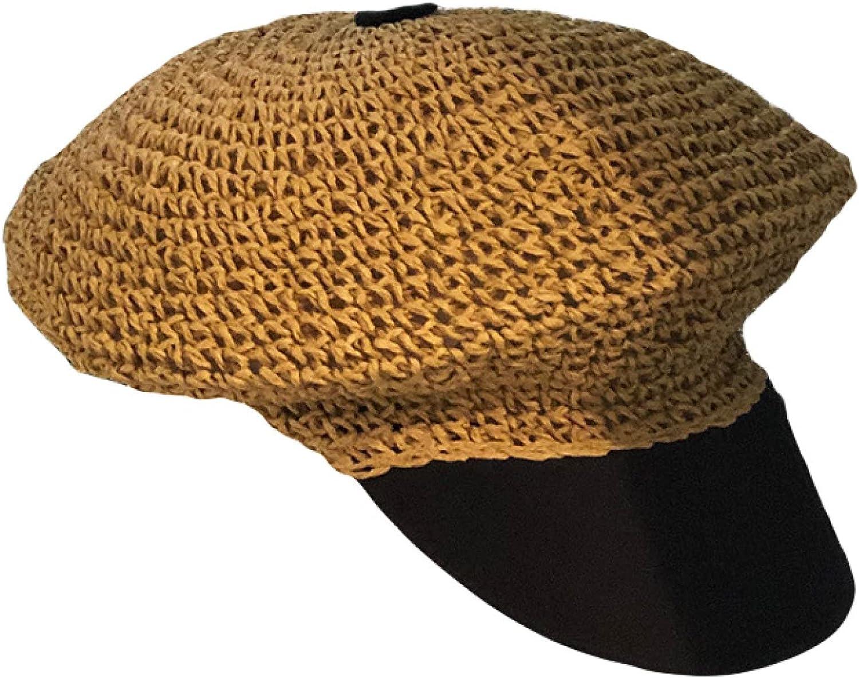 Summer Breathable Straw Sun Beret Hats for Women Short Brim Newsboy Hat Outdoor Casual Painter Fashion Cap
