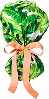 Tropical Leaves Ponytail Scrub Cap for Women with Coral Ribbon
