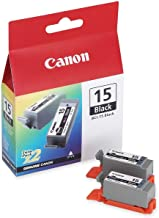 Canon BCI15BK (BCI-15) Ink Cartridge, Black, 2/PK - in Retail Packaging
