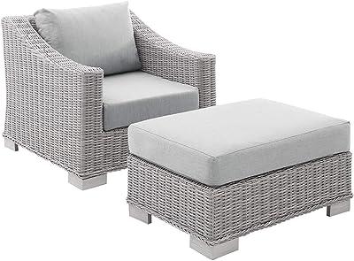Modway EEI-4354-LGR-GRY Conway Sunbrella Outdoor Patio Wicker Rattan 2-Piece Armchair and Ottoman Set, Light Gray Gray