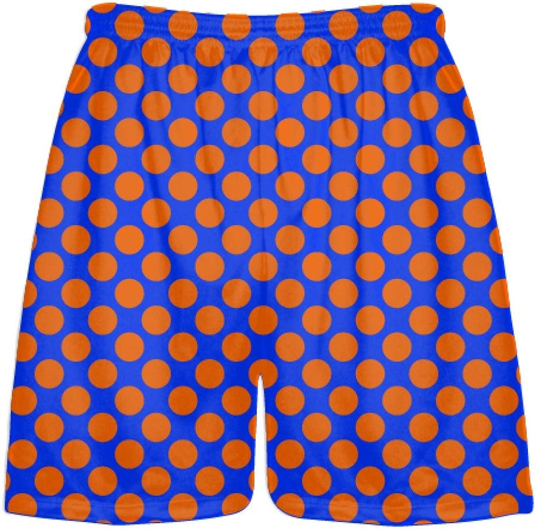 LightningWear Royal bluee orange Polka Dot ShortsAthletic Shorts PocketsYouth Adult Shorts