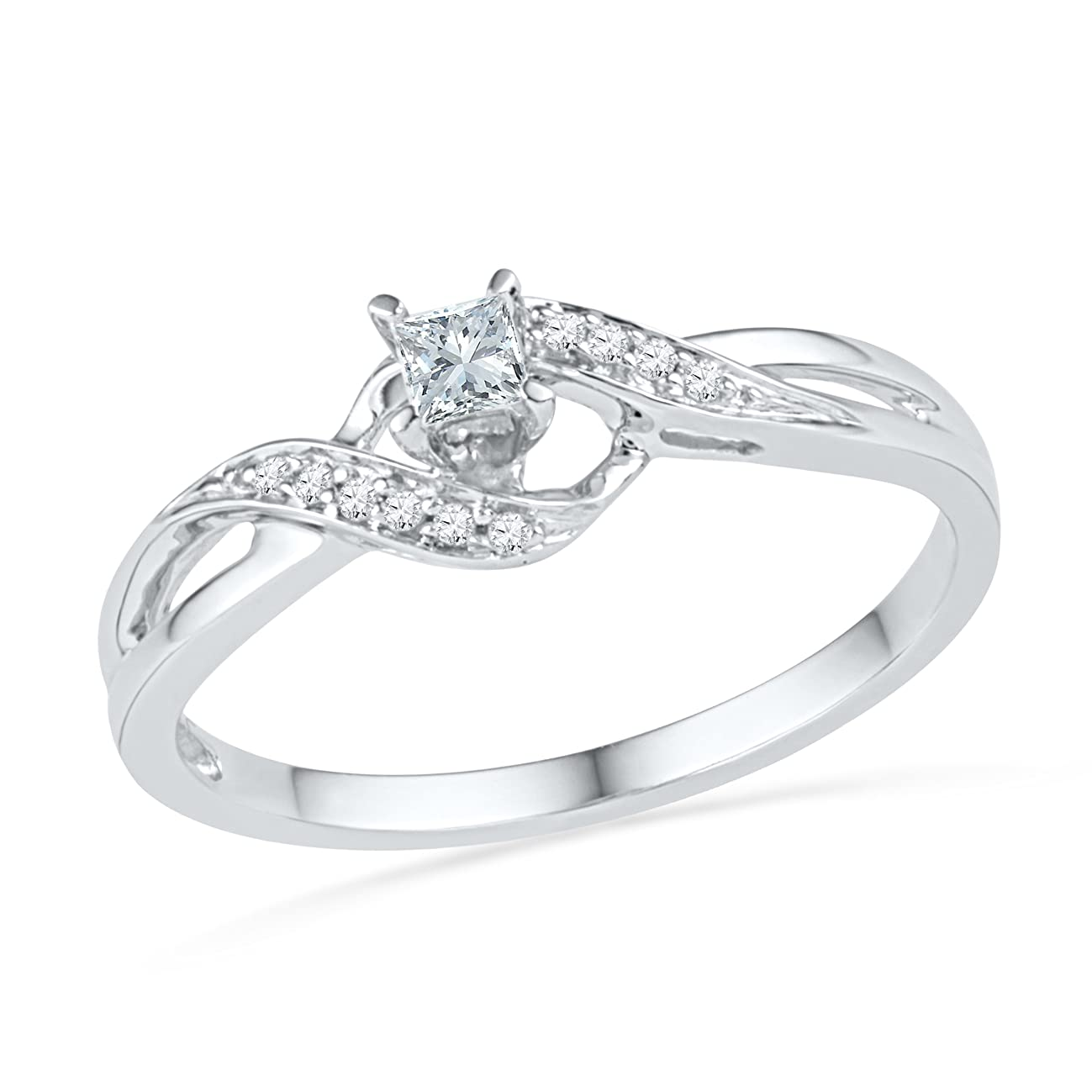 D-GOLD 10KT White Gold Princess and Round Diamond Promise Ring (0.13 CTTW)