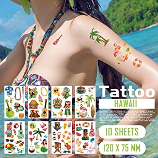 Oottati Small Cute 10 Sheets Summer Hawaii Theme Temporary Tattoo Stickers for Kids