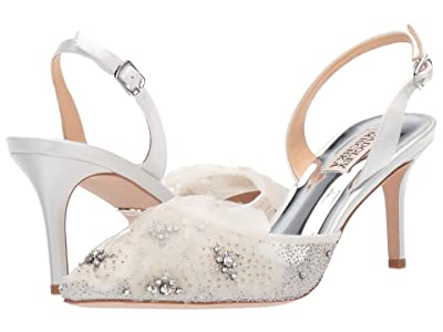 Badgley Mischka Angeline (Soft White Satin/Mesh) High Heels