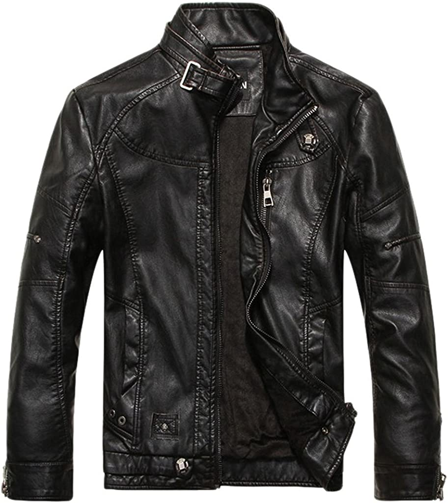 Shanghai Story Men's Vintage Stand Collar Pu Leather Jacket