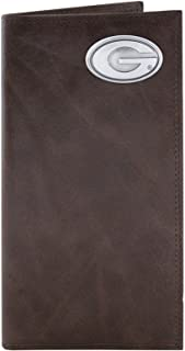 NCAA Georgia Bulldogs Brown Wrinkle Leather Roper Concho Wallet, One Size
