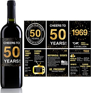 50th Birthday Anniversary Wine Bottle Labels or Stickers Present | 1969 Sign | 50th Anniversary Decorations | Funny Fifty Black Gold Party Decoration Centerpiece Supplies. | Set of 12