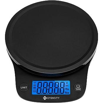 Etekcity Báscula de Cocina Digital Sensor de Alta Precisión(0,1g/0.01oz) para Comida, Joyería y Gasto de Envío (0,3g - 5 kg), Función Tara, Pantalla LCD, Múltiple Unidades(g/oz/lb:oz/ml/fl'oz) Negro