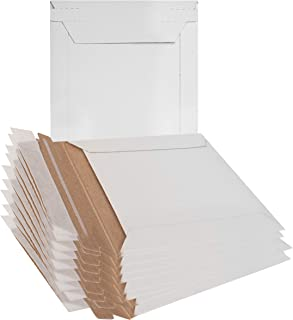 10 Pack Mailjackets Rigid Mailers 6 x 6 White Paperboard Photo Document Envelopes. Stay Flat, Cardboard, fiberboard, no Bend mailers. Peel and Seal. Packaging in Bulk. Wholesale Price.