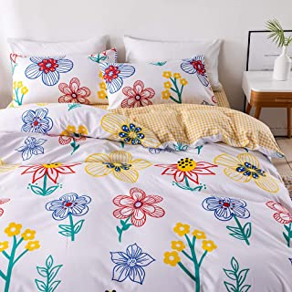 ADASMILE A & S Flower Bedding White Floral Duvet Cover Set Blue Red Yellow Flowers Plants Printed Design White Pastoral St...