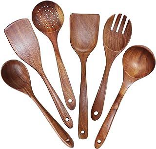 HAOJIE Ustensiles en Bois Set d'ustensiles de Cuisine en Teck - 6 pièces Ustensiles de Cuisine à Casserole antiadhésive Sp...