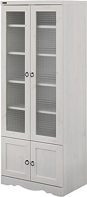 佐藤産業 Bistro キャビネット 食器棚 幅58cm 奥行39.5cm 高さ150cm ホワイト 可動棚 BTC150-60G WH