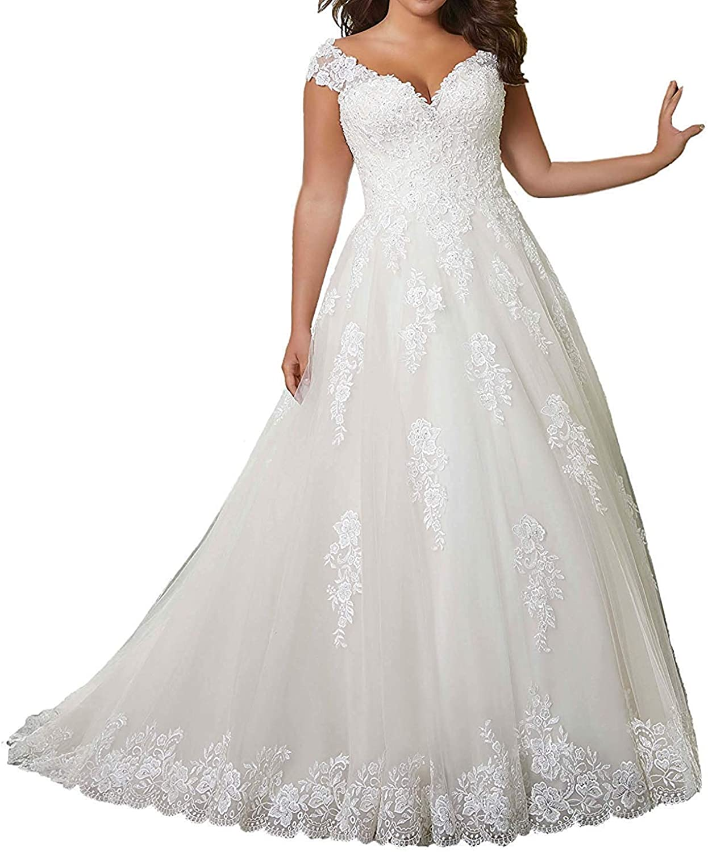 Alexzendra Plus Size Women's Wedding Dress for Bride Lace Bride Dress