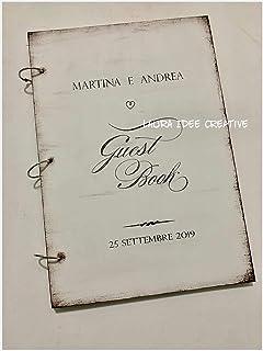Album dediche - guestbook in legno - personalizzato - per matrimonio, battesimo, anniversario o altra cerimonia