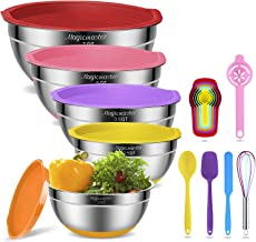 Mixing Bowls with Airtight Lids, 10 pcs Stainless Steel Nesting Bowls Set with Non-Slip Silicone Bottom – Size 2qt, 2.5qt,...