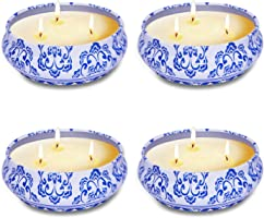 4 Pack Citronella Candles Outdoor Indoor, 5oz 3-Wick Natural Soy Scented Wax Candles, Portable Travel Tin Gift Set for...