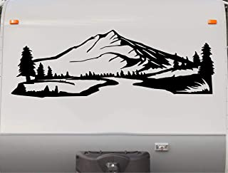 Trees River Mountains Camper Decal Camping Motor Home Trailer RV Sticker Graphic Scene Mural