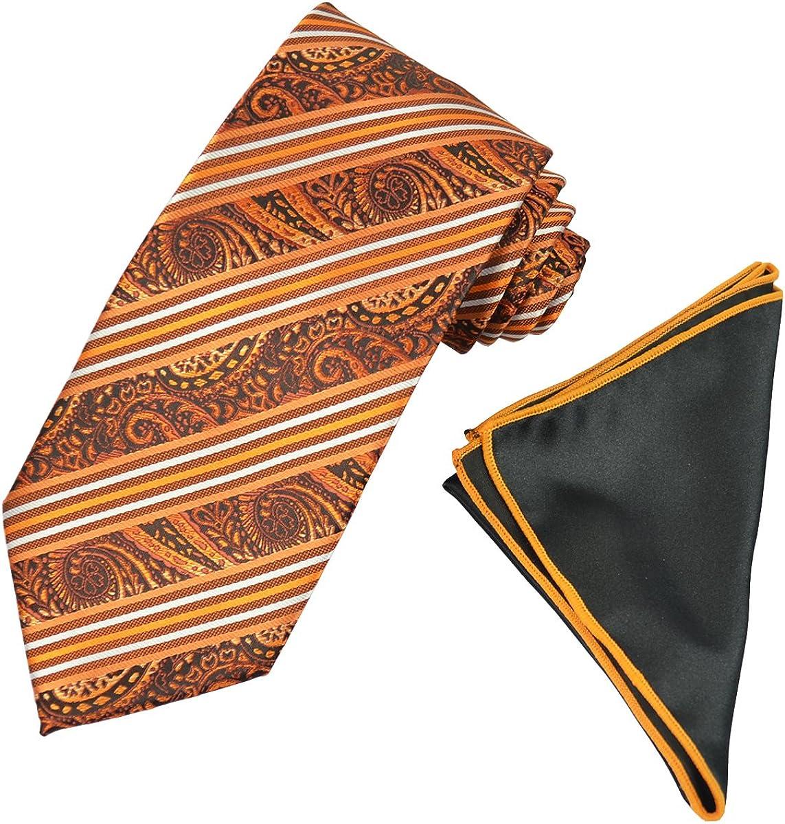 Orange Striped Men's Tie and Pocket Square Set