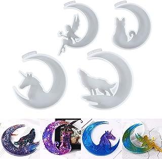 LET'S RESIN Resin Molds, Crescents Moon Molds, Epoxy Molds, Silicone Moon Fairy, Moon Wolf, Moon Cat, Moon Unicorn Epoxy M...