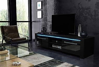 PEGANE Meuble TV Coloris Noir Mat/Noir Brillant avec éclairage LED Bleu - 140 x 42 x 40 cm