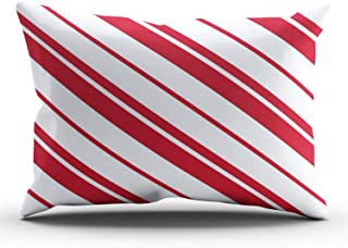 XIAFA Home Custom Pillowcase Candy Cane Mint Red and White Striped Simple Decorations Sofa Throw Pillow Case Cushion Cover One Sided Printed Design King 20X36 Inch (Set of 1)
