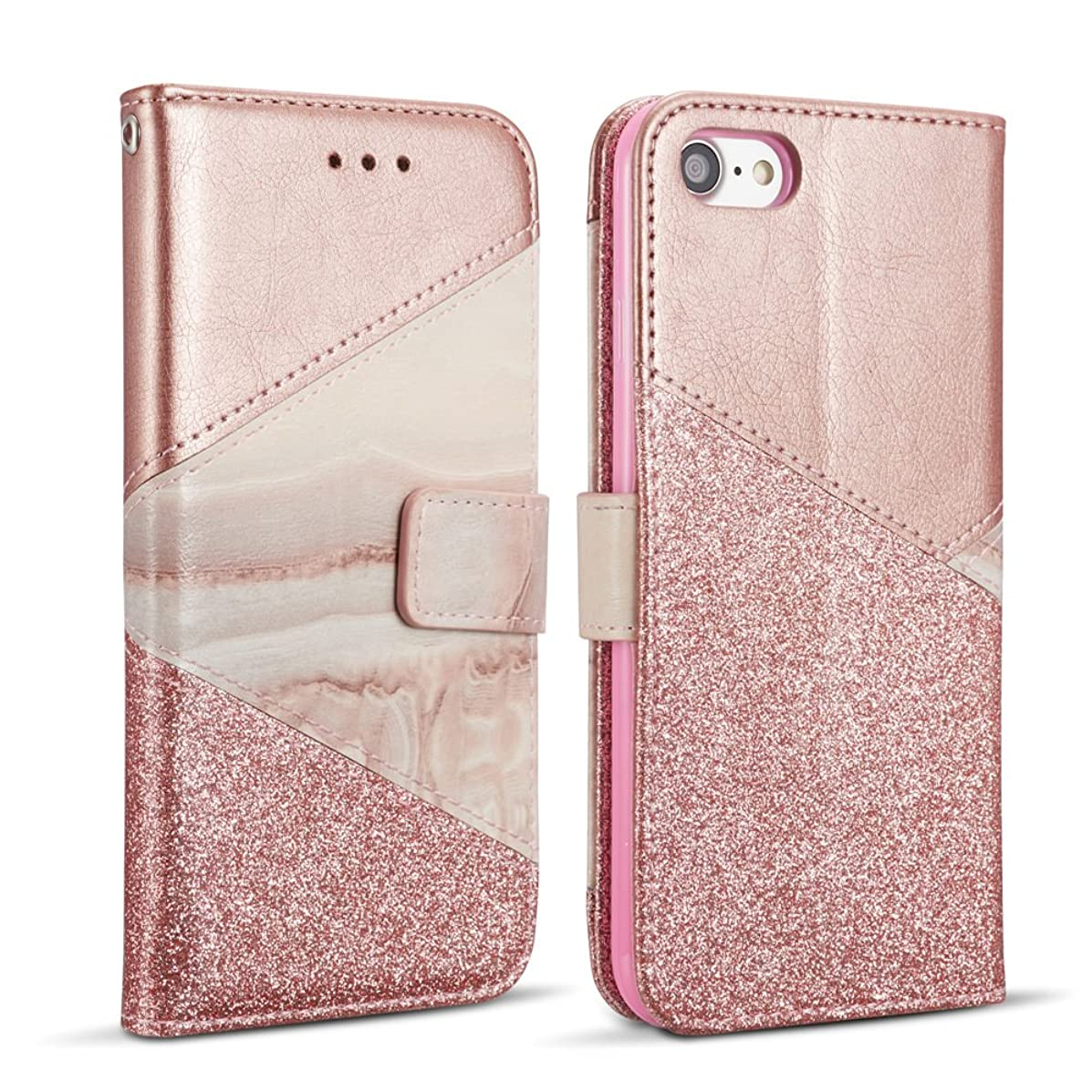 ZCDAYE Bling Glitter [Magnetic Closure] PU Leather [Ceramic Pattern] Flip Wallet Stand Folio Inner Soft TPU Stand Case Cover for Apple iPhone 6 Plus/iPhone 6S Plus 5.5 inch - Rose Gold