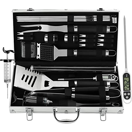 grilljoy BBQ Grill Tool Set with Gift Wrapping Box, 25pcs Stainless Steel BBQ Accessories with Heat Resistant Handle in Storage Case, Premium Complete Outdoor BBQ Utensil Set for Man Woman