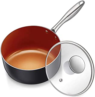 MICHELANGELO 3 Quart Saucepan with Lid, Ultra Nonstick Coppper Sauce Pan with Lid, Small Pot with Lid, Ceramic Nonstick Sa...