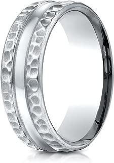 PriceRock Palladium 7.5mm Comfort Fit Hammered Finish Center Cut Design Wedding Band Ring for Men & Women
