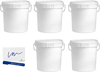 MARKESYSTEM - Seau à vide industriel Pack de 5 x 4,6 litres - Récipients hermétiques en plastique avec couvercle - Stockag...