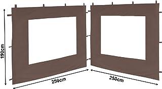 QUICK STAR 2 Pannelli Laterali con Zip 300x195cm per Gazebo 3x3m Pavilion Sidewall Antracite RAL 7012