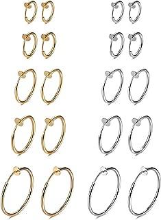 Fake Nose Ring Clip On Hoop Earrings for Women Faux Lip Septum Ring Spring Endless Hoop Earrings Non Piercing Lobes Men Girl (10 Pairs,13mm-25mm,Black,Silver,Gold,Rose Gold)