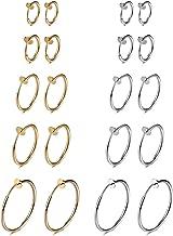 Evevil Fake Nose Ring Clip On Hoop Earrings for Women Faux Lip Septum Ring Spring Endless Hoop Earrings Non Piercing Lobes Men Girl (10 Pairs,13mm-25mm,Black,Silver,Gold,Rose Gold)