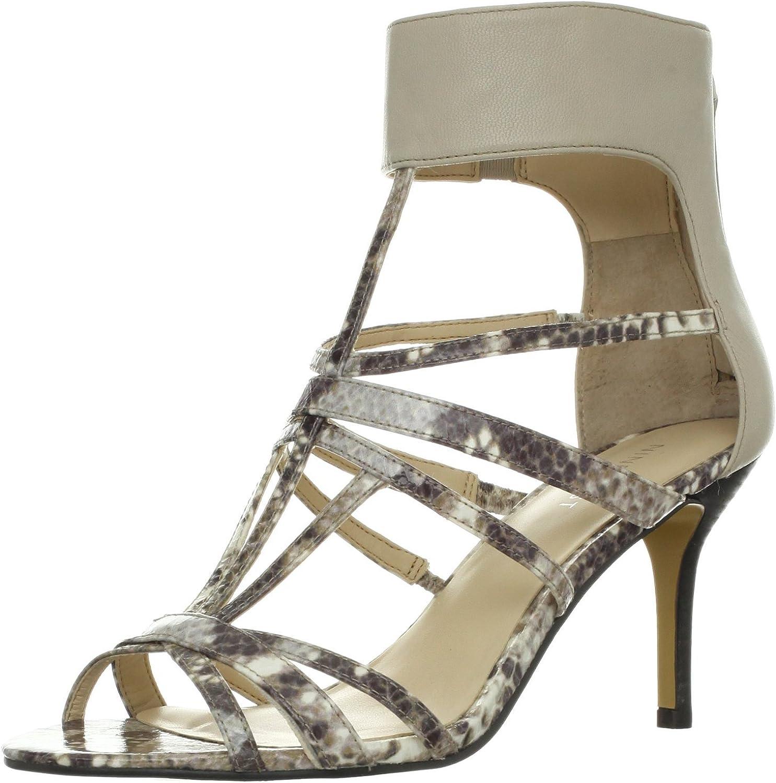 NINE WEST Gerry Womens Dressy High Heel Sandals Lt Grey Leather