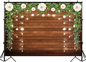 Funnytree 7X5ft Brown Wood White Floral Backdrop Wedding Flowers Glitter Rustic Wooden Board Floor Background Sparkle Bridal Shower Newborn Baby Birthday Party Banner Photo Studio Props