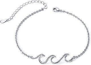 Wave Ocean Beach Sea Anklet for Women S925 Sterling Silver Adjustable Ankle Foot Bracelet