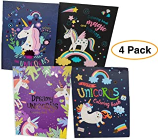 Unique UNICORN Coloring Book Magical Premium Activity book Great for Party favor or fun travel (4 Pack)