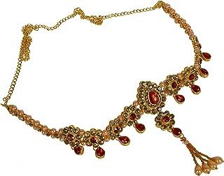 ABHRIK Imitation RED and Golden Waist Hip Belt Kamarband