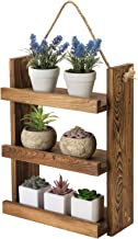 MyGift 3 Tier Shabby Chic Dark Brown Wood Ladder Style Bathroom or Kitchen Wall Hanging Storage Shelf Rack with Rustic Rope