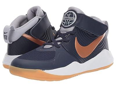 Nike Kids Team Hustle D 9 (Little Kid) (Midnight Navy/Metallic Copper/Wolf Grey) Kids Shoes