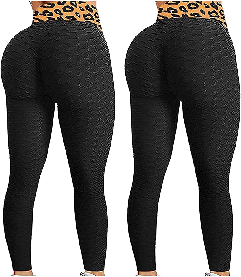 2PC Women's Sports Yoga Pants with Pocket,High-Waist Quick-Drying Comfy Elastic Gradient Jacquard Bubble Leopard Print Leggings,Tummy Control Butt Scrunch Push Up for Workout Exercise Tights
