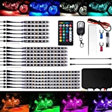 SUZCO 18Pcs Motorcycle LED Lights Strips Kit Multi-Color Atmosphere Accent Glow Neon Lights Lamp Flexible with Wireless Remote Controller for Harley Davidson Honda Kawasaki Suzuki Ducati Polaris KTM